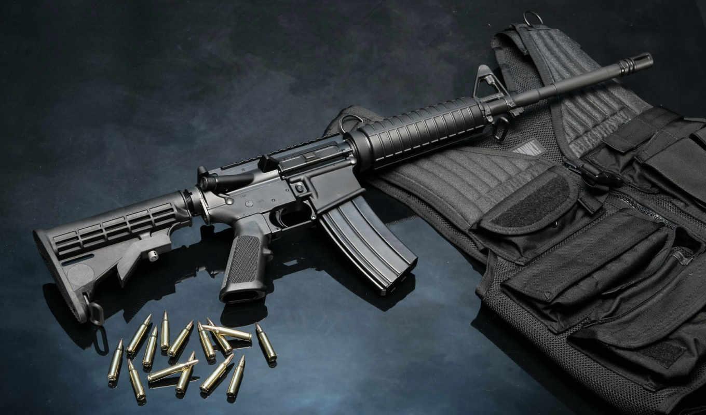 оружие, автомат, AR-15, жилет, патроны