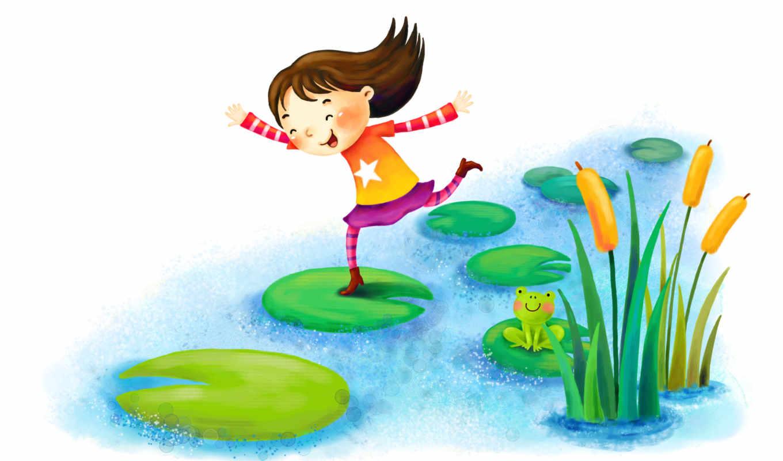 нарисованные, девочка, озеро, кувшинка, лягушка, рогоз