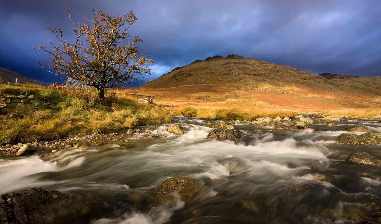 река, гора, природа, río, puzzles, snowy,