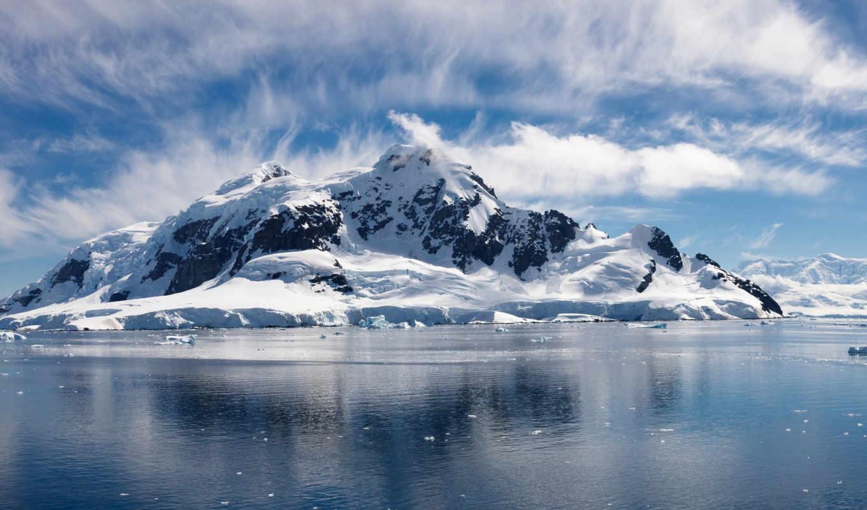 море, снег, горы, небо, oblaka, ocean, winter,