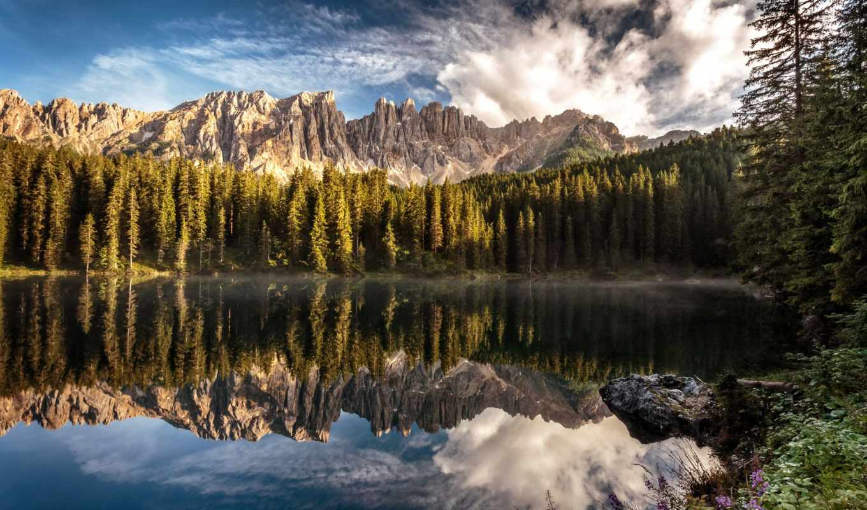 alto, adige, горы, озеро, italian, karersee, italy, лес, природа,