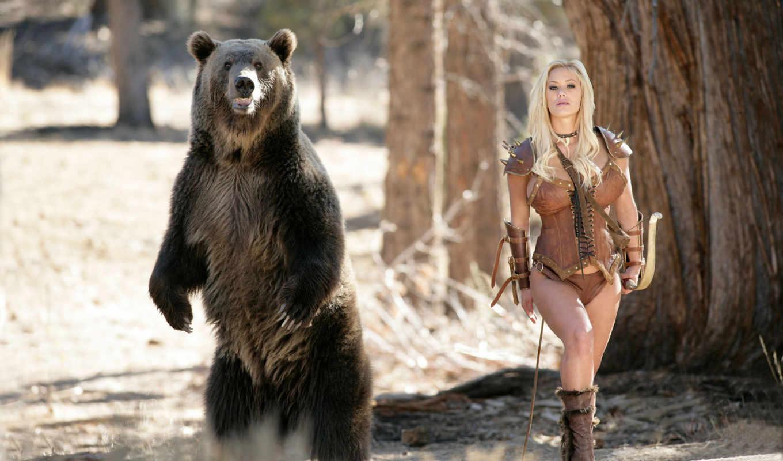 девушка, медведь, devushki,