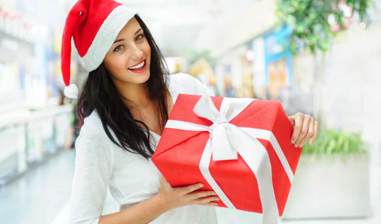 снегурочки, девушка, шатенка, улыбка, подарки, взгляд, шапка, радость,