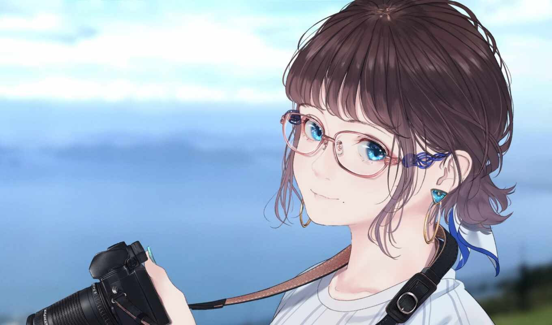 anime, девушка, blue, глаз, short, фотограф, watch, волосы, id