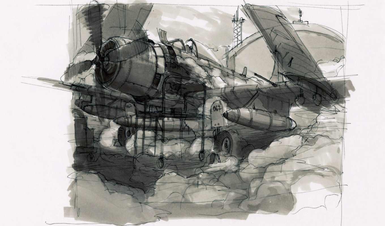 самолет, взлёт, набросок, нарисованный, рисунок, самолета, авиация,