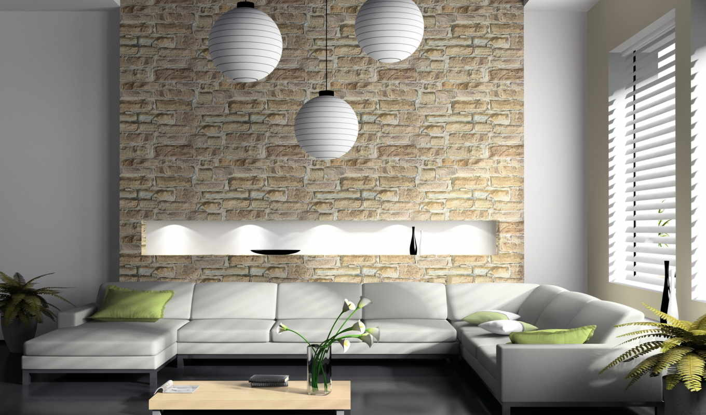 интерьер, дизайн, стиль, софа, столик, гостиной, камня, белый, стена, шпалери, интерьера, стиле,
