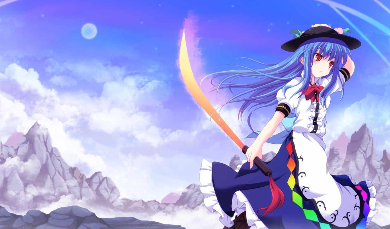 tenshi, hinanawi, hat, hair, cross, sword, touhou, dress, crossryou, blue, clouds,