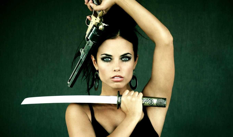 девушки, оружием, девушка,