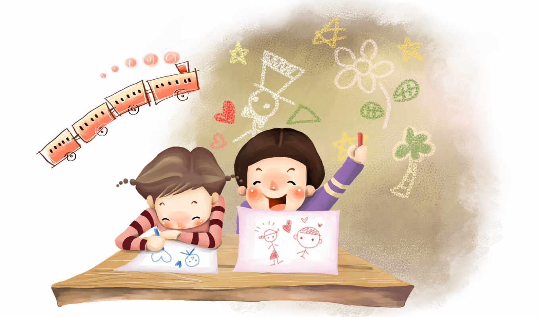нарисованные, дети, рисунок, поезд, цветы, бумага, стол, радость