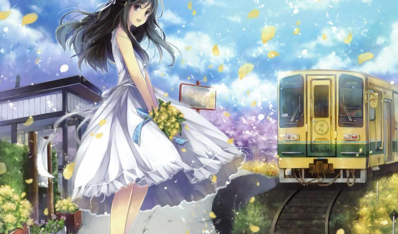 anime, девушка, цветы, девушки, букет, art, поезд, волосы, категории, лепестки,