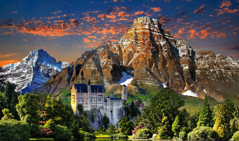 castle, горы, нойшванштайн, небо, landscape, озеро, trees, закат,