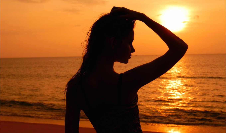 силуэт, закате, devushki, солнца, море, sun, девушка, закат,