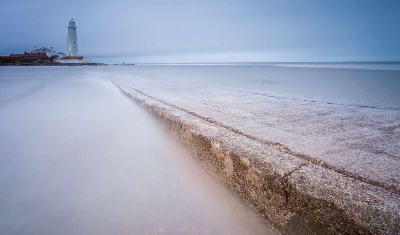 море, англия, берег, великобритания, маяк, штиль,