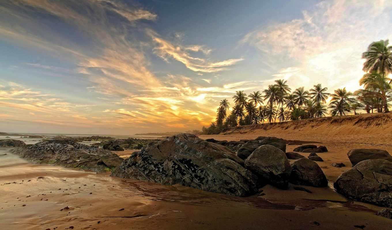 пальмы, песок, море, пляж, облака,