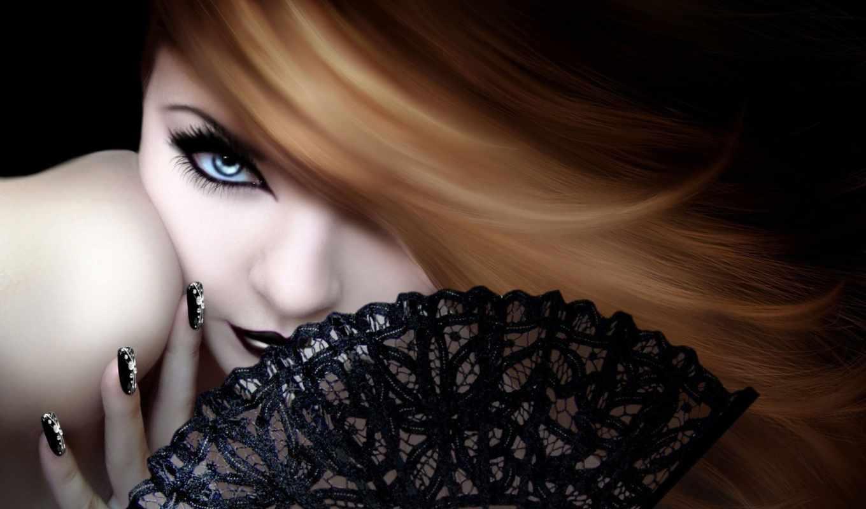 девушка, веером, рыжеволосая, графика, рисованные, добавлено, голубыми, девушки, категория, глазами,