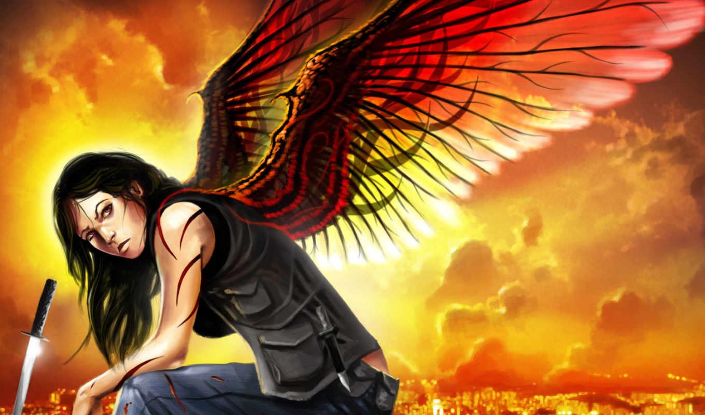 девушка, art, меч, книге, сидя, illustration, нож, катана, крылья, город,