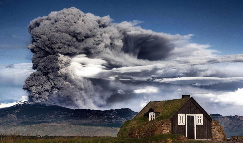 вулкан, извержение, iceland, house, качестве, отличном, высоком, разрешений, гора,