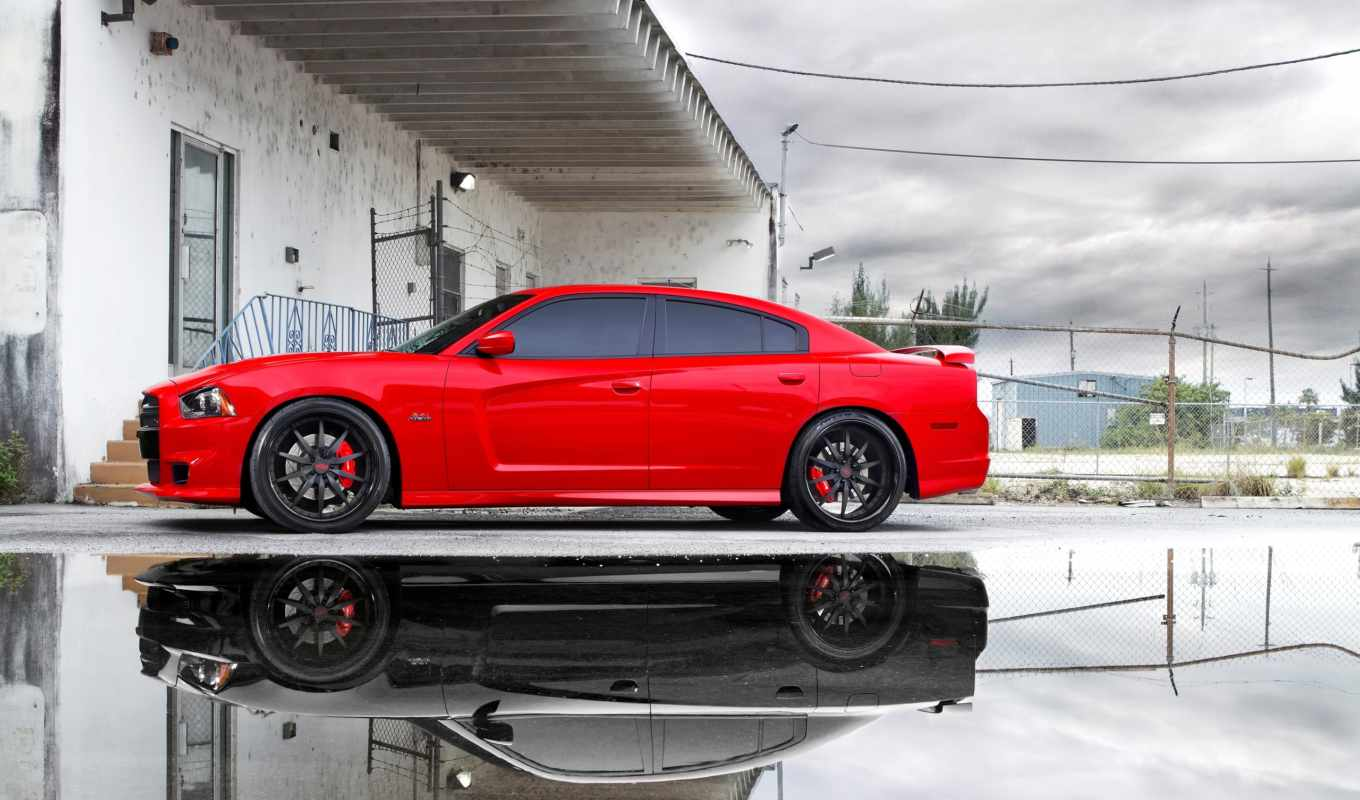 dodge, charger, srt, чарджер, red, авто, hemi, лужа, небо,