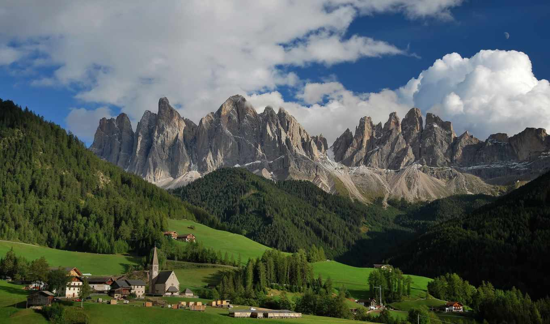 italian, альпы, долина, доломитовые, небо, горы, oblaka, funes, города,