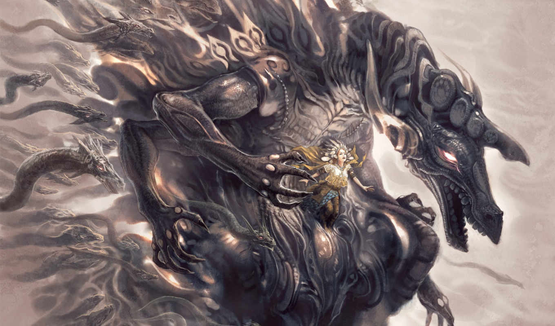 art, digital, монстр, abstract, фэнтези, dragon, fantasy, фантастика, ai, ales, девушка, dragons, змеи,