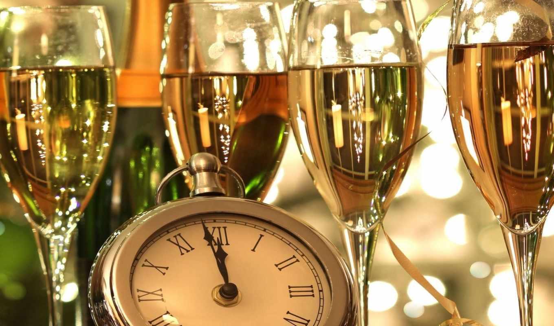 шампанское, бокалы, часы, полночь, год, новый,