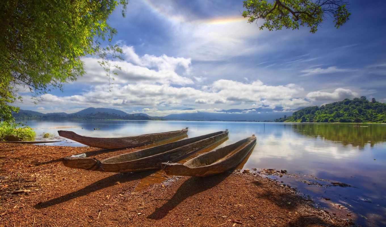 река, берег, лодка, берегу, небо, water, лес, реке, реки, пляж,