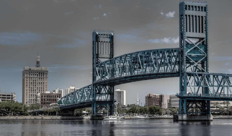 jacksonville, florida, главное, улица, мост, джексонвилл, река, город,