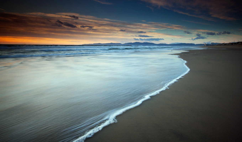 море, закат, landscape, берег, волна, природа,