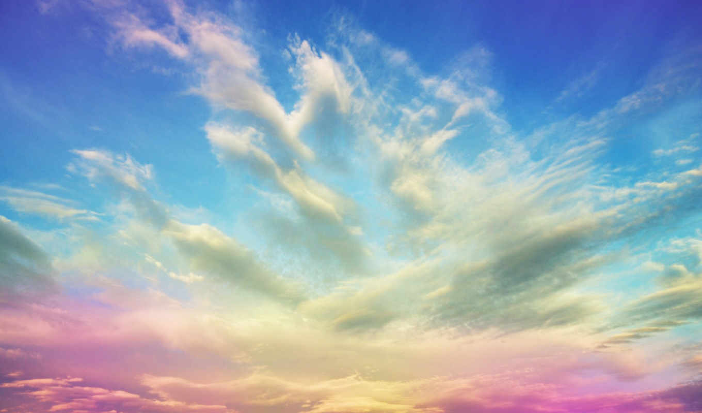 розовый, небо, clouds, rising,
