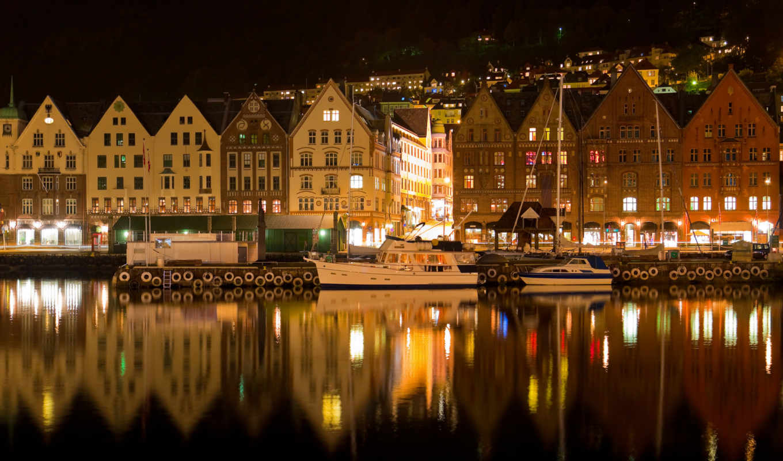 город, ночь, фотообои, море,
