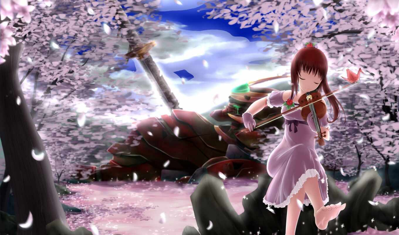 Сакура, drawing, коллекция, яndex, скрипка, девушка, музыка, play, card