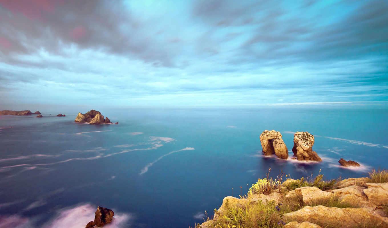 скалы, costa, небо, море, quebrada, картинка, rocks, красивые, los, urros, ocean,