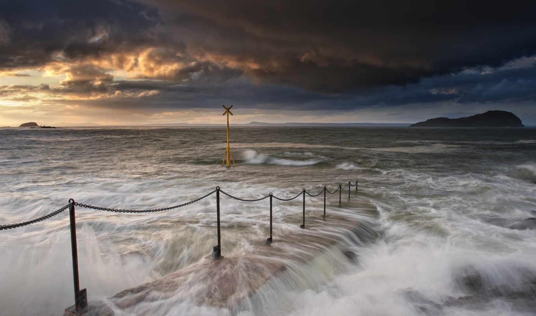 потоки, волны, океан, прибой, море, залив, берег, картинка,