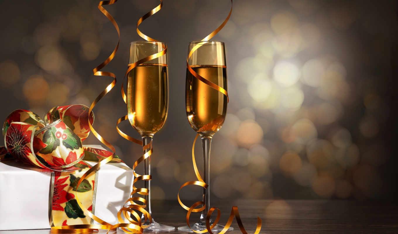 шампанское, бокалы, праздник, дек,