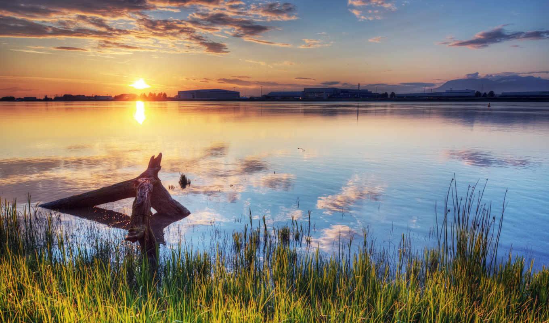 закат, солнце, река, подготовлены, монитора, под, пейзажи, ваше, небо,