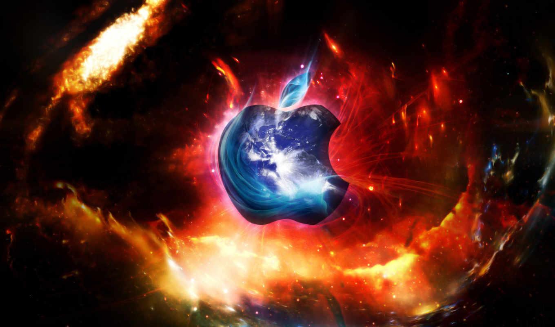 apple, лого, галактика, голубой, красный, пламя