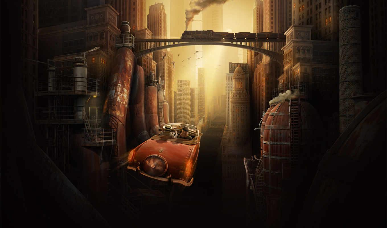 стимпанк, город, steampunk, взгляд, steam, будущее, мегаполис, chevron, страница,