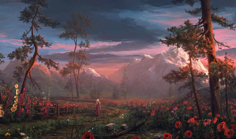 fentezti, природа, дерево, гора, human, poppy, цветы, арта, меч