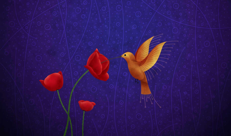 колибри, птица, фотообои, red, цветы, kivit