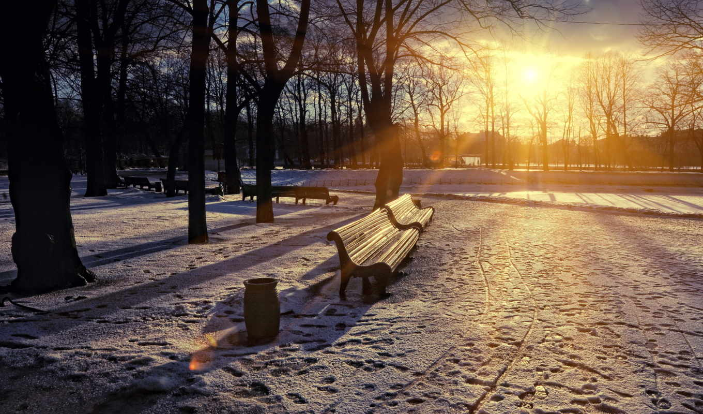 парк, скамья, город, весна, закат, картинка,