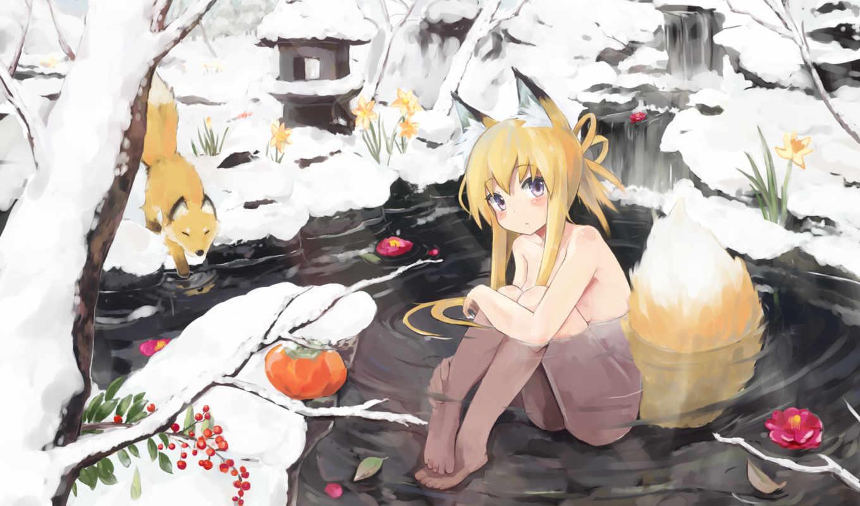 зима, лиса, неко, девушка, уши, вода, хвост, ягоды, anime, картинка,
