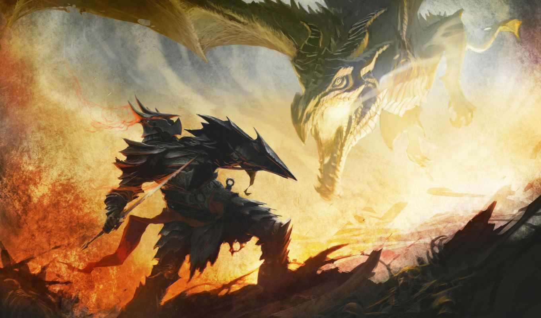 дракон, scrolls, elder, skyrim, скайрим, даедрическая, огонь, броня, сражение, арт,
