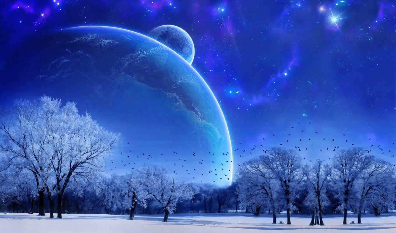 планета, космос, планеты, фантастическая, зима, галактика, реклама, фантастика, комментариев, фантастические,