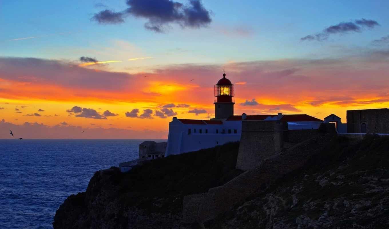 cabo, vicente, lighthouse, португалия, sao, закат, маяки,