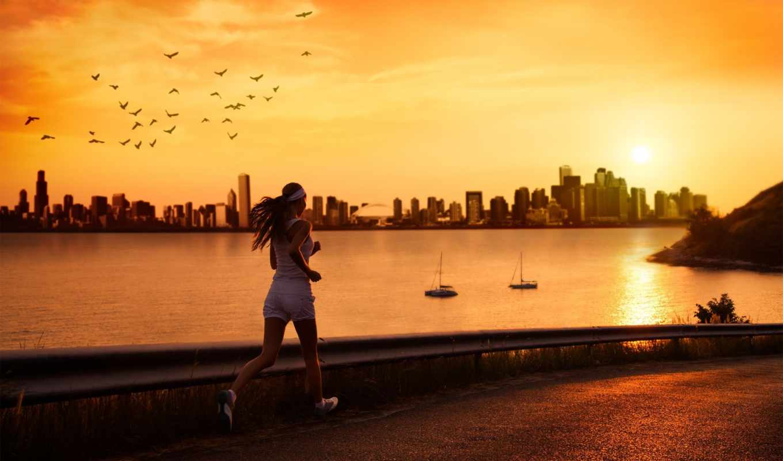 run, спорт, женщина, девушка, дорога, картинка, море, река,