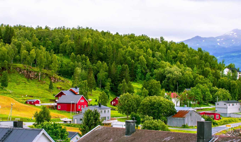 норвегия, горы, дома, небо, лес,
