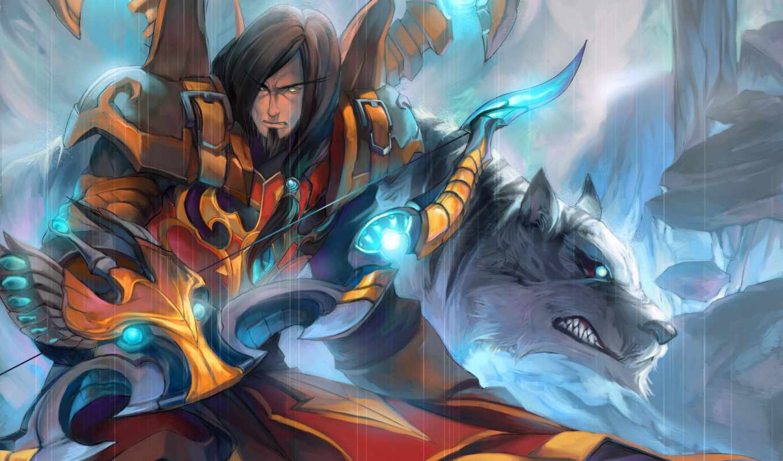 art, warcraft, wow, hunter, эльф, кровь, волк, world, лук, atharun,