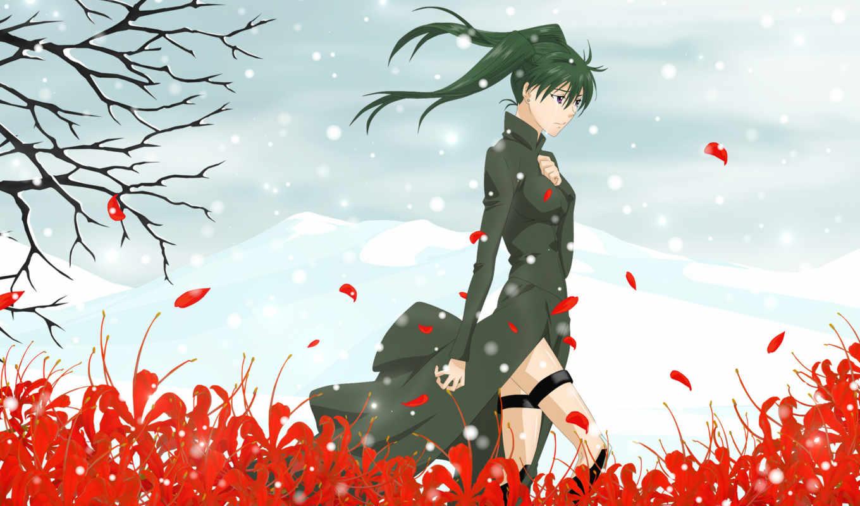 девушка, одинокая, одиночка, anime, снег, совершенно, свой, ветер, кб,