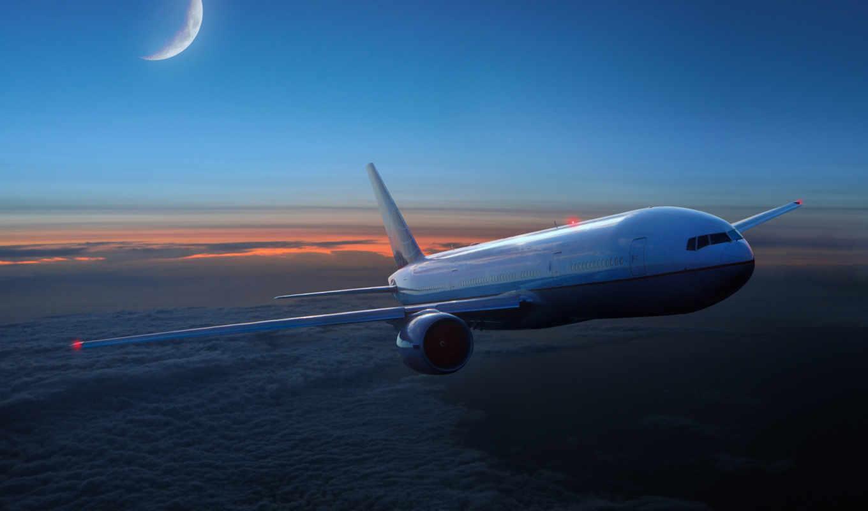самолёт, авиация, полет, oblaka, month,