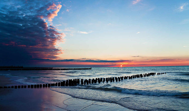 summer, water, закат, море, landscape, небо, природа, waves, берег, пляж, oblaka,